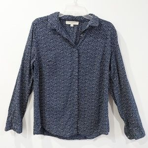 LOFT ROSEBUD BLUE SOFTENED SHIRT SIZE MEDIUM